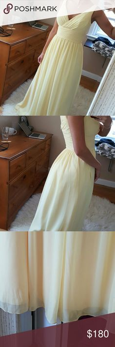Bill Levkoff canary yellow gown Wore as a bridesmaid dress. Measures 58 inches from shoulder strap to floor and waist line is 26 inches all way around. . Bottom isn't perfect but have to be looking to be able to tell. Needs a dry clean. Beautiful flowy gown. Size 8, I am a 2 so I would say comparable to small. I am a 32d, wore no bra. Will fit b,c,d size chest. Bill Levkoff Dresses Wedding