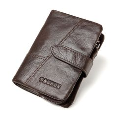"""Men's Genuine Leather Short Wallet  Price: 28.00 & FREE Shipping """"Fashion is Self-Expression: It's not the brand that makes you, but its how you brand yourself in whatever you wear"""" by Cadilyn Trends. We share our business motto with you. Visit our store and check out our collections. #fashionaccessories Pocket Cards, Leather Shorts, Cow Leather, Brand You, Fashion Accessories, Motto, Wallets, How To Wear, Collections"""