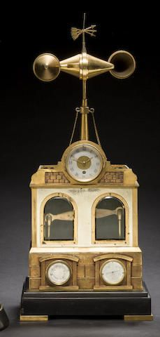 A very rare French gilt and patinated bronze and marble clockwork automaton weather station and music box in the form of a wind driven pump house Late 19th century, attributed to André Romain Guilmet