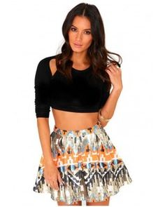 Missguided Belle Aztec Print Sequin Skirt - Skirts -