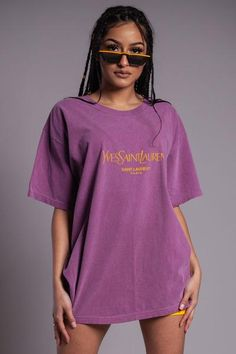 Purple n yellow yves tee Big Shirt Outfits, Lazy Outfits, Cool Outfits, Fashion Outfits, Oversized Long Sleeve Shirt, Customise T Shirt, Clothing Sites, Unisex, Clothes