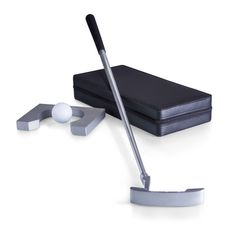 The Mulligan is a complete compact putter set you can use indoors to practice putting. It includes 1 4-piece travel putter with an aluminum metal shaft, 1 white golf ball, and 1 metal practice cup in a black leatherette traveling case. It's great for business trips, office down time, or practicing your putting technique at home.