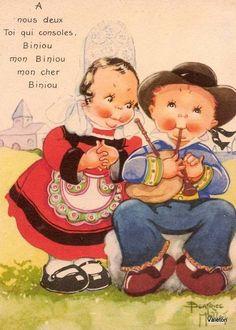Béatrice Mallet card - in praise of the biniou, a Breton bagpipe.