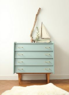 This nifty little number offers a nod to the perennial vintage and nautical trends when dressed up with appropriate accessories. Recreate the look yourself by upcycling an unloved (inspired) dresser with chalky blue paint. Interior, Redo Furniture, Refurbished Furniture, Painted Furniture, Mid Century Modern Furniture, Home Deco, Furniture Makeover, Vintage Furniture, Retro Furniture