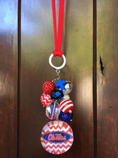 Ole Miss Rebels Car Ornament Rear View Mirror by TheBadaBling