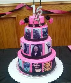 """A cake for my daughter's """"Sweet 16"""" birthday with photos & her original artwork used as edible images. (December 2013)"""