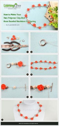 How to Make Your Own Polymer Clay Red Rose Beaded Necklace for Spring by Jersica
