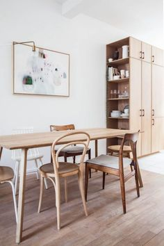 my scandinavian home: The calm, natural kitchen Kitchenette, Dining Area, Dining Table, Dining Room, Cocina Office, Gravity Home, Makeover Before And After, Natural Kitchen, Natural Wood