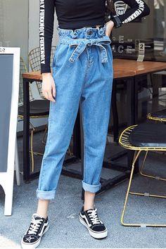 High Waist Sash Women's Casual Pants on Luulla Women's Summer Fashion, Teen Fashion, Fashion Outfits, Fashion Tips, Fashion Design, Fashion Pants, Cher Horowitz, Jeans Boyfriend, Mom Jeans