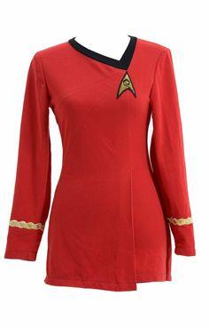 Star Trek Costume Cotton Female Duty Uniform Red,Women-XL                                                                                                                                                                                 More