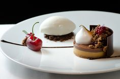 One of my absolute fav pastry chefs- Ashley Brauze, db Bistro Moderne NY: Chocolate Caramel Palet: Speculos Sable, Caramel Fondant, Vanilla Meringue, Cherry Compote, and Goat's Milk Ice Cream