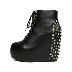 Black Leatherette Wedge Heel Ankle Boots Shoes$55.00 ($55) ❤ liked on Polyvore