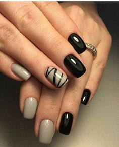 There are three kinds of fake nails which all come from the family of plastics. Acrylic nails are a liquid and powder mix. They are mixed in front of you and then they are brushed onto your nails and shaped. These nails are air dried. Fancy Nails, Trendy Nails, Hair And Nails, My Nails, Nails 2017, Black Nail Art, Beige Nail Art, Black Gel Nails, Black Polish