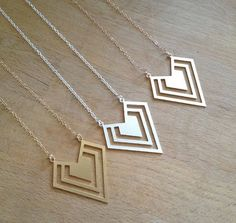 Geometric Necklace Gold, Rose Gold, Sterling Silver - PABJewellery £25.99
