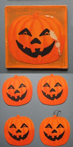 Vintage Halloween Ephemera ~ Dennison Hallowe'en Pumpkin Decoration Cut-Outs / Tags