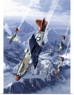 Kurt Miller Poster Print Wall Art Print entitled Tuskegee airmen flying near the Alps in their P-51 Mustangs, None