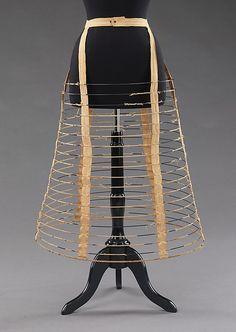 Cage crinoline Manufacturer: Royal Worcester Corset Company (American, 1864–1950) Date: 1862–63 Culture: American Medium: linen, metal