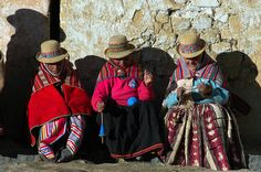 Women Photograph - Aymara Women Spinning Wool. In The Bolivian Altiplano. by Eric Bauer
