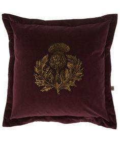 Timorous Beasties Purple Thistle Print Velvet Cushion