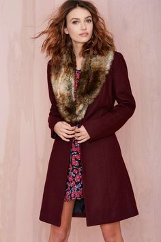 Nasty Gal Greenwich Coat in Wine with Faux Fur Collar. Love it!