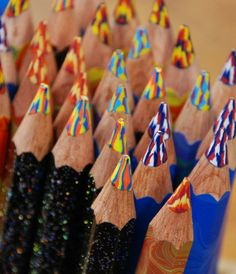 fat, colorful wooden pencils with multicolor lead, made by Koh-I-noor
