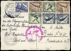 Airship Zeppelinmail, Olympia Flight 1936, Olympia trip, card with 7 olympic stamps (4 different), all postmarks on face, cancel of post office of origen a, arrival postmark (Sieger 110,-) Dealer Berliner Auktionshaus Schlegel Auction Minimum Bid: 50.00 EUR