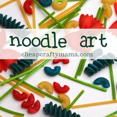 """""""N"""" is for {noodle art}- dye noodles and play/learn/create with them!"""
