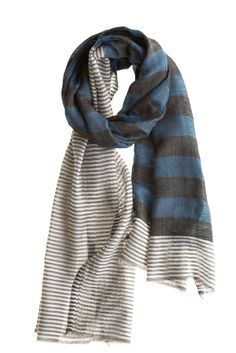 love this-might try to work this change of pattern idea in some sort of crochet or knit scarf...stick with neutral colors and change the pattern half way through..interesting idea. :)  Like the taupe/gray and soft medium blue with white color scheme too...