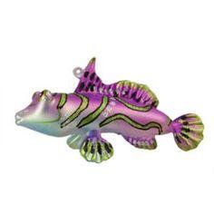 "5"" Under the Sea Glittered Purple Glass Salmon Christmas Ornament"