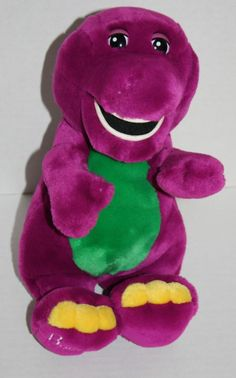 "Barney plush dinosaur stuffed toy 12"" animal plastic eye soft yellow toes medium"