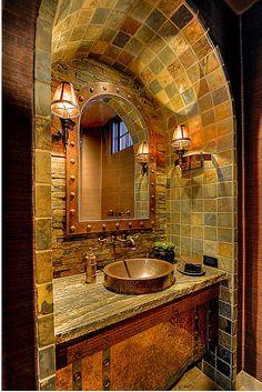 Barrel tile ceiling-Powder Room by Eagles Nest Living