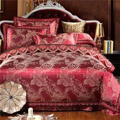Luxury Silk Bedding Set lace bedclothes Satin bed linen/sheet set Queen/King