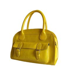Yellow leather handbag / shoulder bag / leather by artoncrafts, $145.00