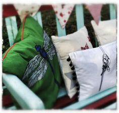 cushions from Dandy Star, Just Bunting, Patchwork Butterfly and Willow and Brown, Christmas bunting by Just Bunting www.giftwrappedan...