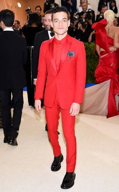 Rami Malek from Met Gala 2017: Best Dressed Stars The best dressed man of the night's in a red Dior Homme suit.