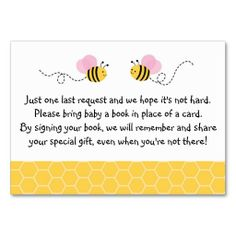 Bumble Bee Baby Shower Book Request Cards Business Card Templates....Perfect!!!