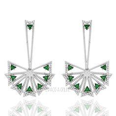 Brincos Com Pedras Verde Esmeralda Semi Joias | Espaço A Semi Joias Finas e de Luxo