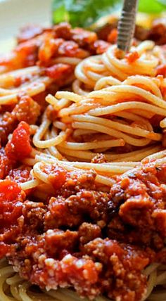 Slow Cooker Spaghetti Sauce - if you've never had homemade spaghetti sauce, please do give this a try. Also, prepare with the best quality canned tomatoes you can afford - the difference is indescribable! (different pasta sauces recipes) Meaty Spaghetti Sauce, Slow Cooker Spaghetti Sauce, Homemade Spaghetti Sauce, Spaghetti Recipes, Crock Pot Spaghetti, Homemade Sauce, Slow Cooker Recipes, Crockpot Recipes, Cooking Recipes