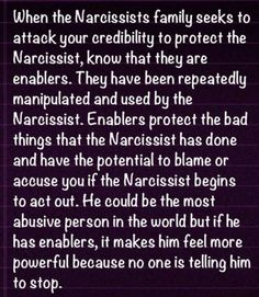 Enablers A Recovery from Narcissistic sociopath relationship abuse: if you are defending TONY right now, then YOU are an enabler and are ASSISTING him in his abuse of women. Narcissistic People, Narcissistic Mother, Narcissistic Behavior, Narcissistic Sociopath, Narcissistic Personality Disorder, Narcissistic Tendencies, Narcissistic Children, Abusive Relationship, Toxic Relationships