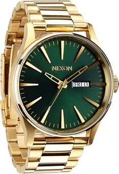 A green face with gold stainless steel has major class with luminous hands and a 100 meter water resistance for durability and supreme functionality. Best Watches For Men, Cool Watches, Nixon Watches, Luxury Watch Brands, Watches Online, Luxury Watches, Gold Watch, Mens Fashion, Stainless Steel
