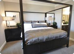 gray, black, white bedroom
