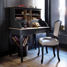Linen and wood chair in ecru and black Versailles | Maisons du Monde