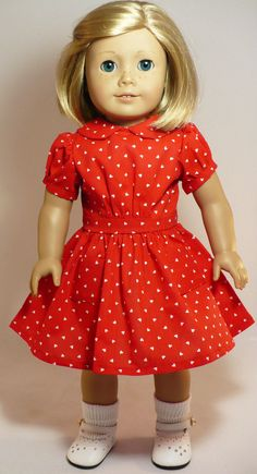 American Girl 18 inch doll clothes  1930s Valentine's by WhoaItsMe, $20.00