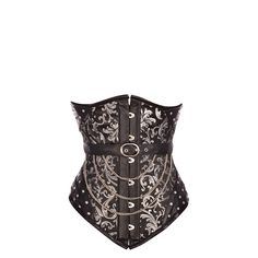 Black Steampunk Leather Look Underbust Corset with Chains and Belt