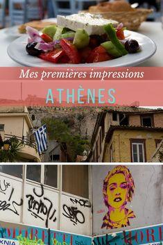 Voyage en Grèce |Je suis arrivée à Athènes et ça m'a pris à peu près trois minutes pour tomber amoureuse de cette ville. Pourquoi? Il y a une «vibe» qui a su me charmer. Voici mes premières impressions d'Athènes | #grece #voyage Petits Bars, Europe, Voici, Travel To Greece, Fine Dining, Impressionism, Falling Down
