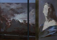 Notturno, olio su ardesia,  31 x 43 cm, 2015