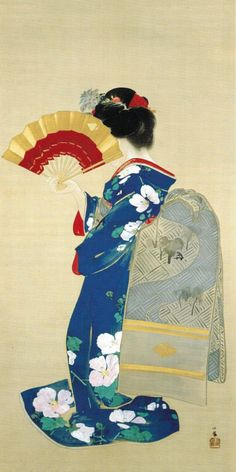 Japanese painting, Beauty hiding her face with a fan, by Takeuchi Seiho Japanese Drawings, Japanese Artwork, Japanese Painting, Japanese Prints, Japan Design, Geisha Art, Traditional Japanese Art, Art Asiatique, Art Japonais