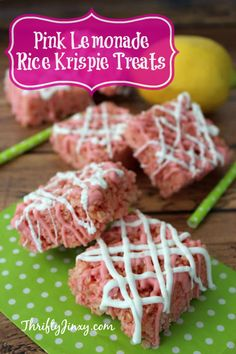 Summer is here! That means it's time for fun days playing outside, trips to the park and beach and family get-togethers. With this Pink Lemonade Rice Krispie Treats recipe, you can make a yummy treat Rice Krispy Treats Recipe, Rice Crispy Treats, Krispie Treats, Rice Krispies, Yummy Treats, Delicious Desserts, Sweet Treats, Valentines Day Desserts, Party Desserts