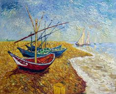 "Vincent Van Gogh Fishing Boats on the Beach of Saintes, June 1888, oil on canvas, 65 X 81.5 cm, Van Gogh Museum, Amsterdam. Arles was not far from the Mediterranean. At the beginning of June 1888 Vincent visited the fishing village of Saintes-Maries-de-la-Mer where, in a matter of days, he produced two seascapes, a view of the village and nine drawings. He wrote to Theo about one of the seascapes: ""I made the drawing of the boats when I left very early in the morning, and I am now work"