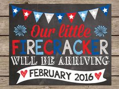 4th of July Pregnancy Announcement Chalkboard - PRINTABLE PRINTED Pregnancy Reveal Chalkboard Summer Pregnancy Annoucement Fourth of July